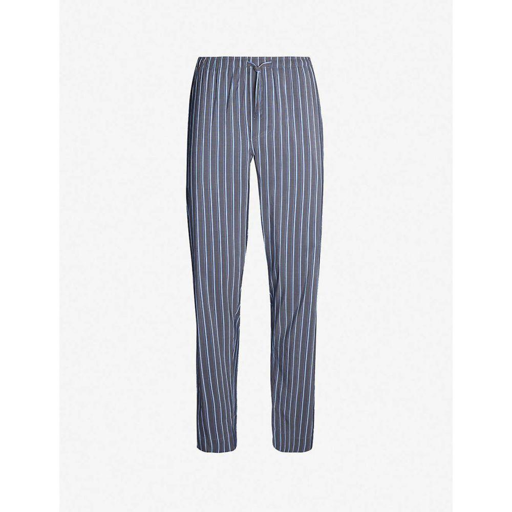 ヅィメリー ZIMMERLI メンズ インナー・下着 パジャマ・ボトムのみ【Striped cotton and silk-blend pyjama bottoms】Midnight