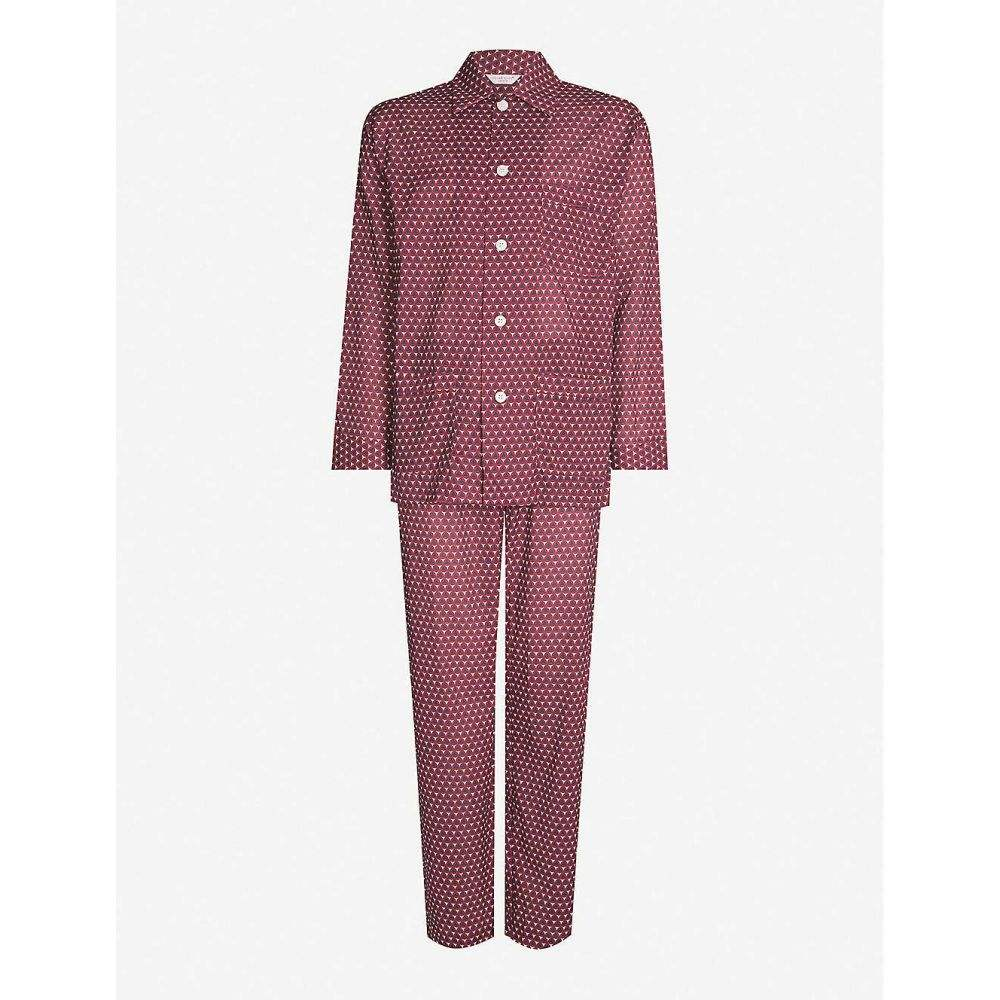 デリック ローズ DEREK ROSE メンズ インナー・下着 パジャマ・上下セット【Mosaic tile-print cotton pyjama set】Burg