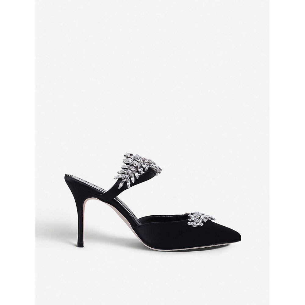 マノロブラニク MANOLO BLAHNIK レディース シューズ・靴 サンダル・ミュール【Lurum crystal-embellished satin mules】Black