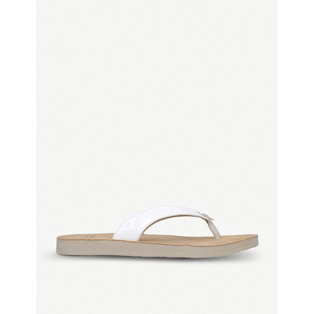 アグ UGG レディース シューズ・靴 ビーチサンダル【Tawney leather flip-flops】White