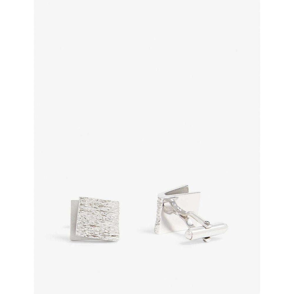 ランバン LANVIN メンズ カフス・カフリンクス【Textured curve cufflinks】Silver