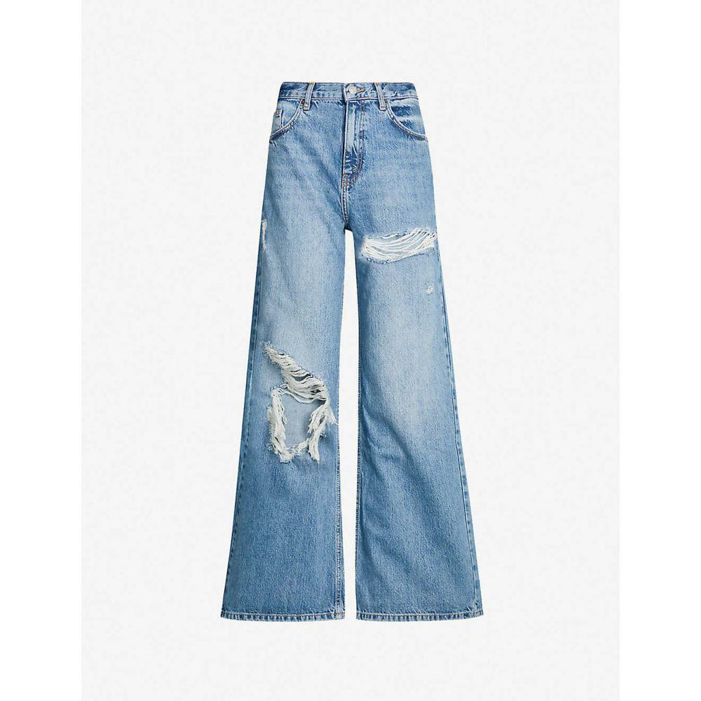 トップショップ TOPSHOP レディース ボトムス・パンツ ジーンズ・デニム【Ripped high-rise wide-leg jeans】Mid stone
