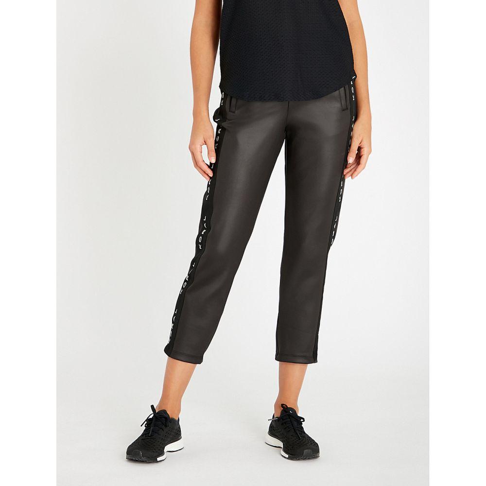 コラール KORAL レディース ボトムス・パンツ ジョガーパンツ【Logo-trim cropped high-rise stretch-jersey jogging bottoms】Black