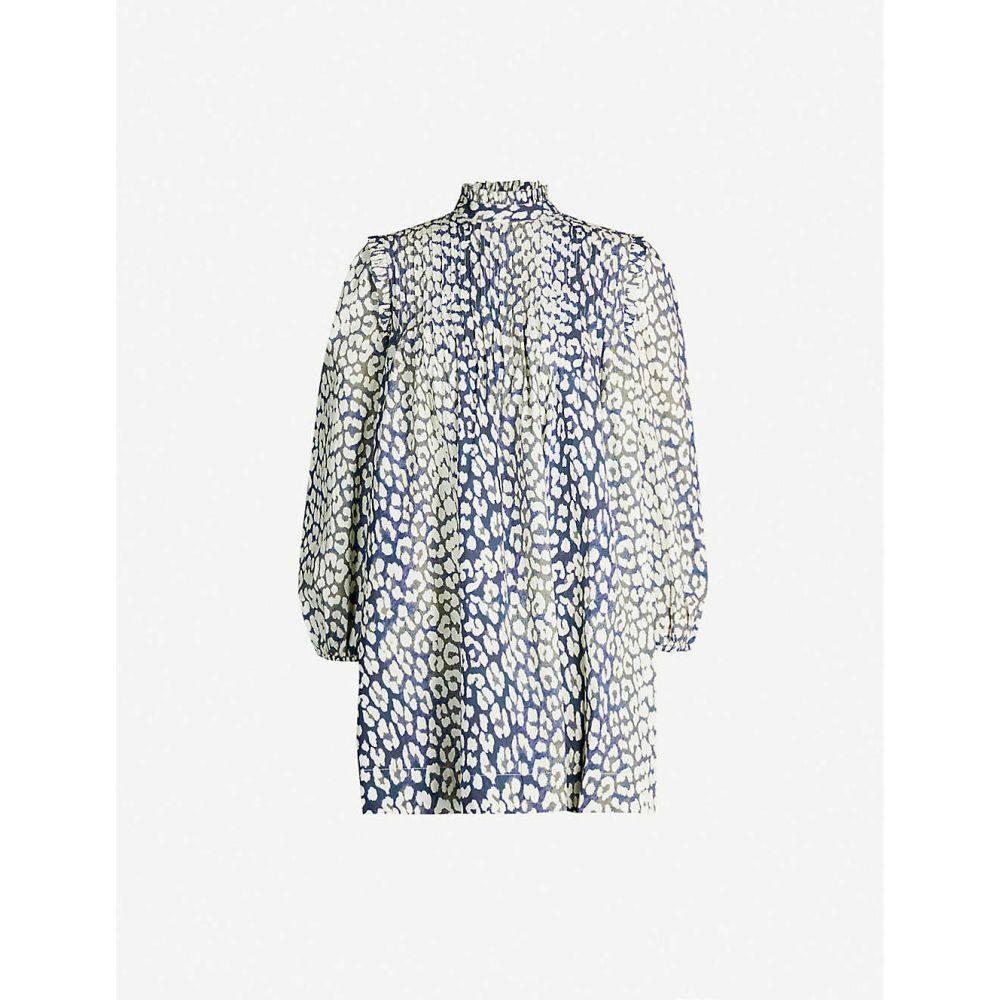 ガニー GANNI レディース ワンピース・ドレス ワンピース【Leopard-print cotton midi dress】Total eclipse