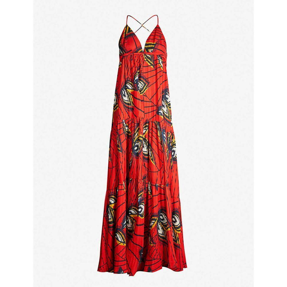 バッシュ BA&SH レディース ワンピース・ドレス ワンピース【Feather-print woven maxi dress】Red