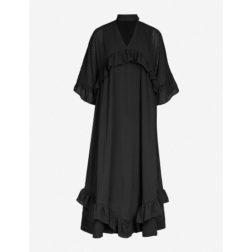 ガニー GANNI レディース ワンピース・ドレス ワンピース【Ruffled-trim seersucker chiffon midi dress】Black