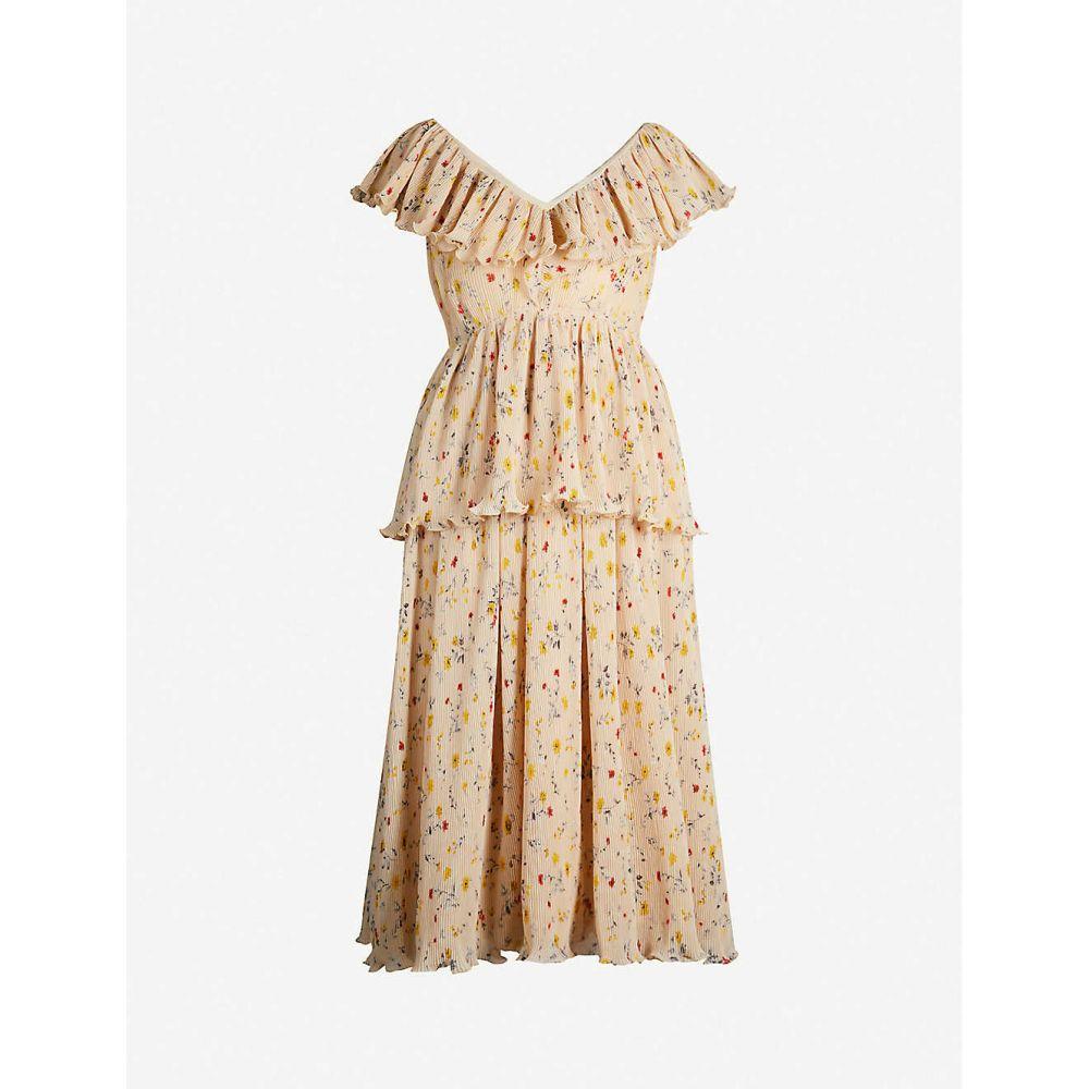 ガニー GANNI レディース ワンピース・ドレス ワンピース【Floral-print V-neck georgette dress】Irish cream