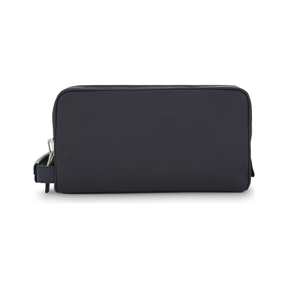 トム フォード TOM FORD メンズ ポーチ【Double zip leather wash bag】Navy/silver