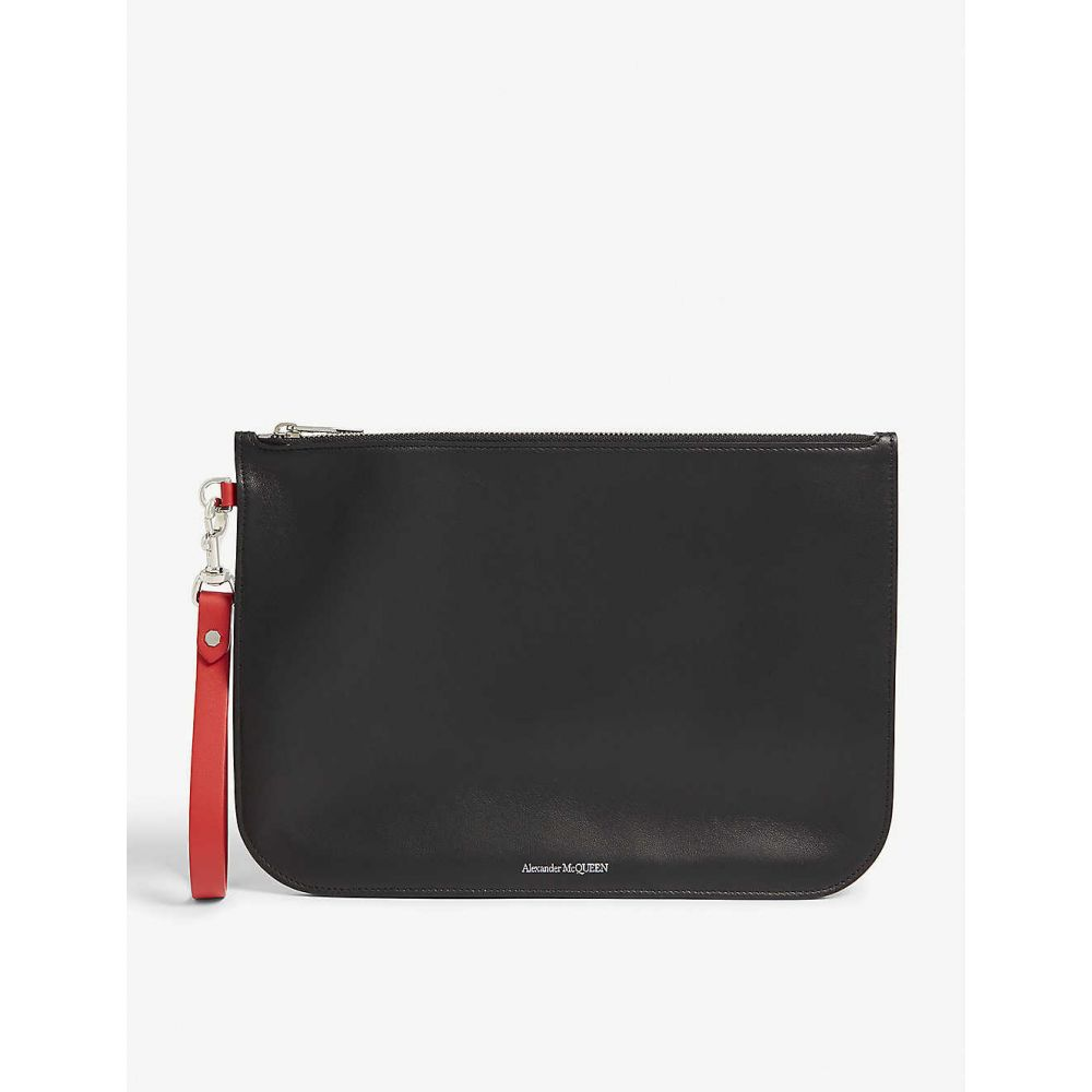 アレキサンダー マックイーン ALEXANDER MCQUEEN メンズ ポーチ【Logo embossed leather wristlet pouch】Black lust red