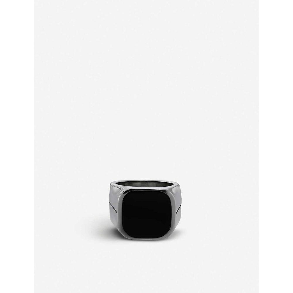 ジバンシー GIVENCHY メンズ ジュエリー・アクセサリー 指輪・リング【Engraved silver-tone signet ring】Black silver