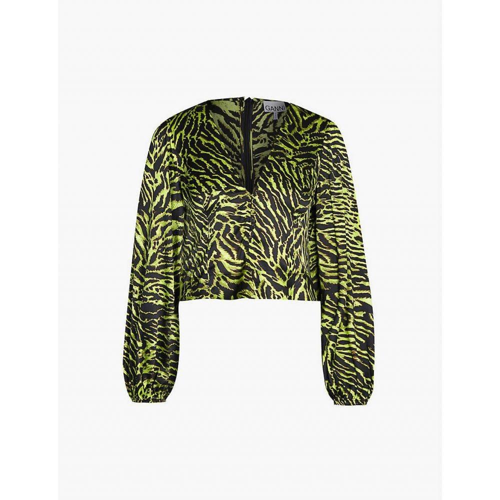 ガニー GANNI レディース トップス【V-neck bishop-sleeve tiger-print stretch-silk top】Lime tiger