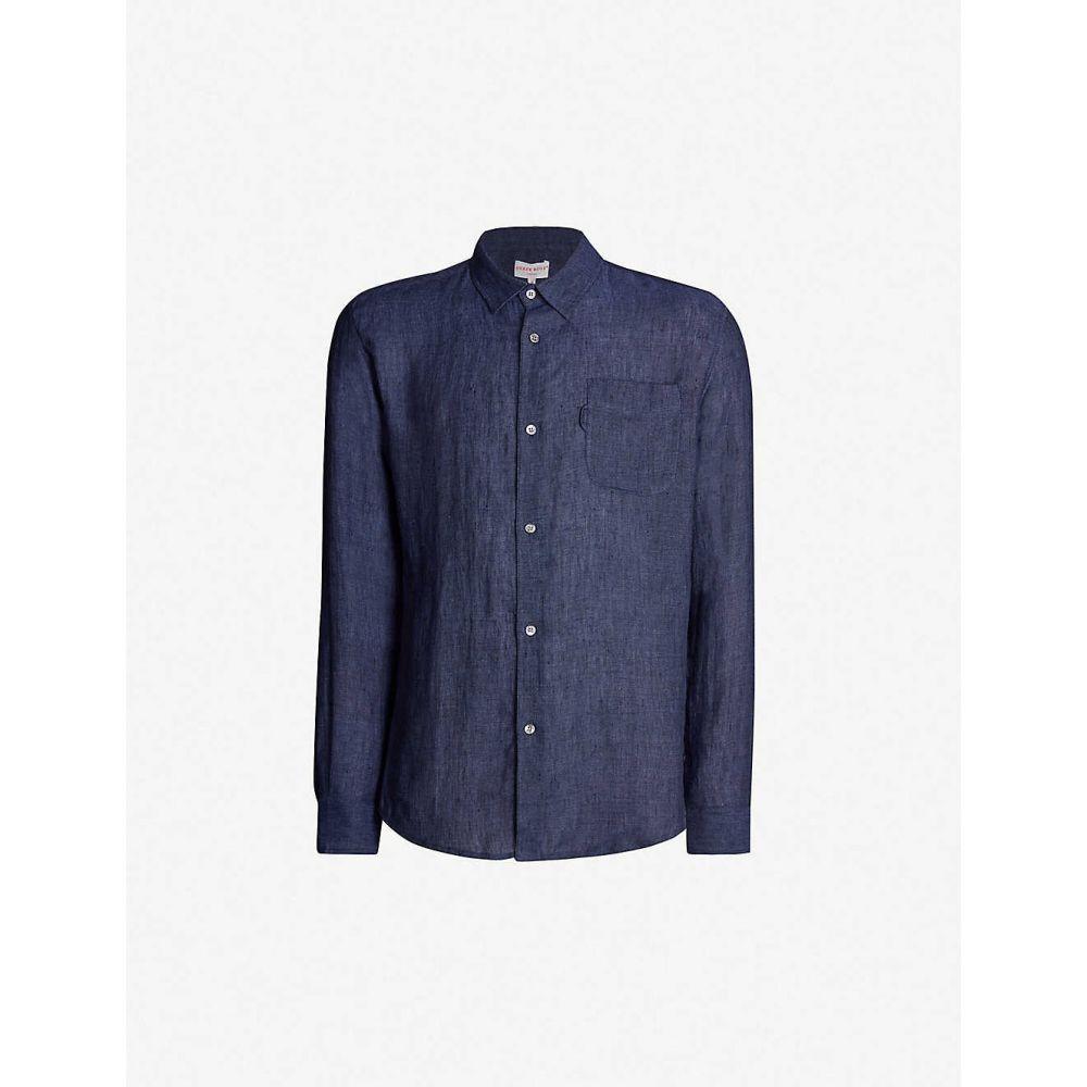 デリック ローズ DEREK ROSE メンズ トップス シャツ【Monaco relaxed-fit linen shirt】Navy