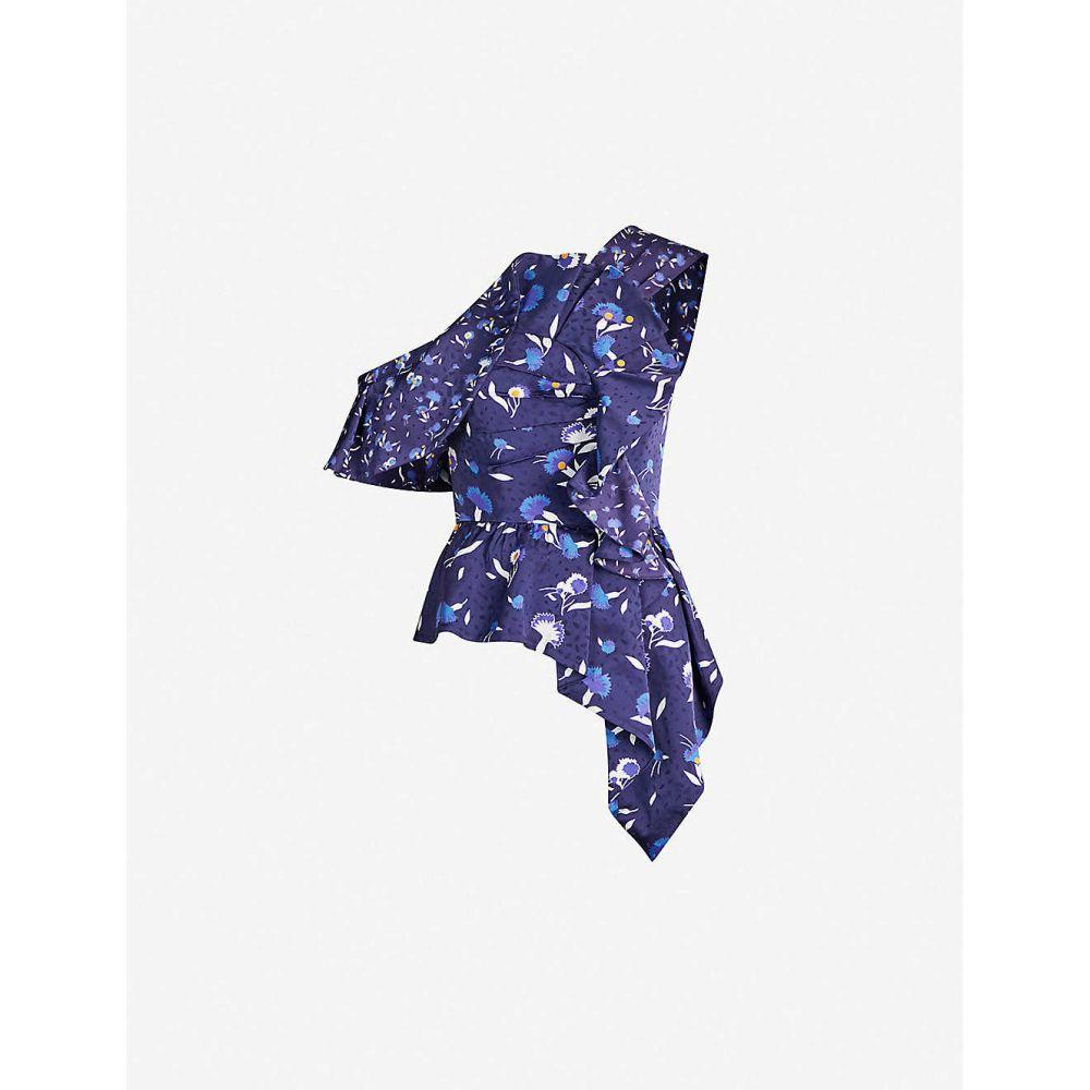 セルフ ポートレイト SELF-PORTRAIT レディース トップス【One-shoulder ruffled floral-print satin top】Navy