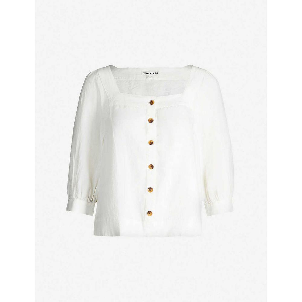 ホイッスルズ WHISTLES レディース トップス ブラウス・シャツ【Contrast-button square-neck linen blouse】White