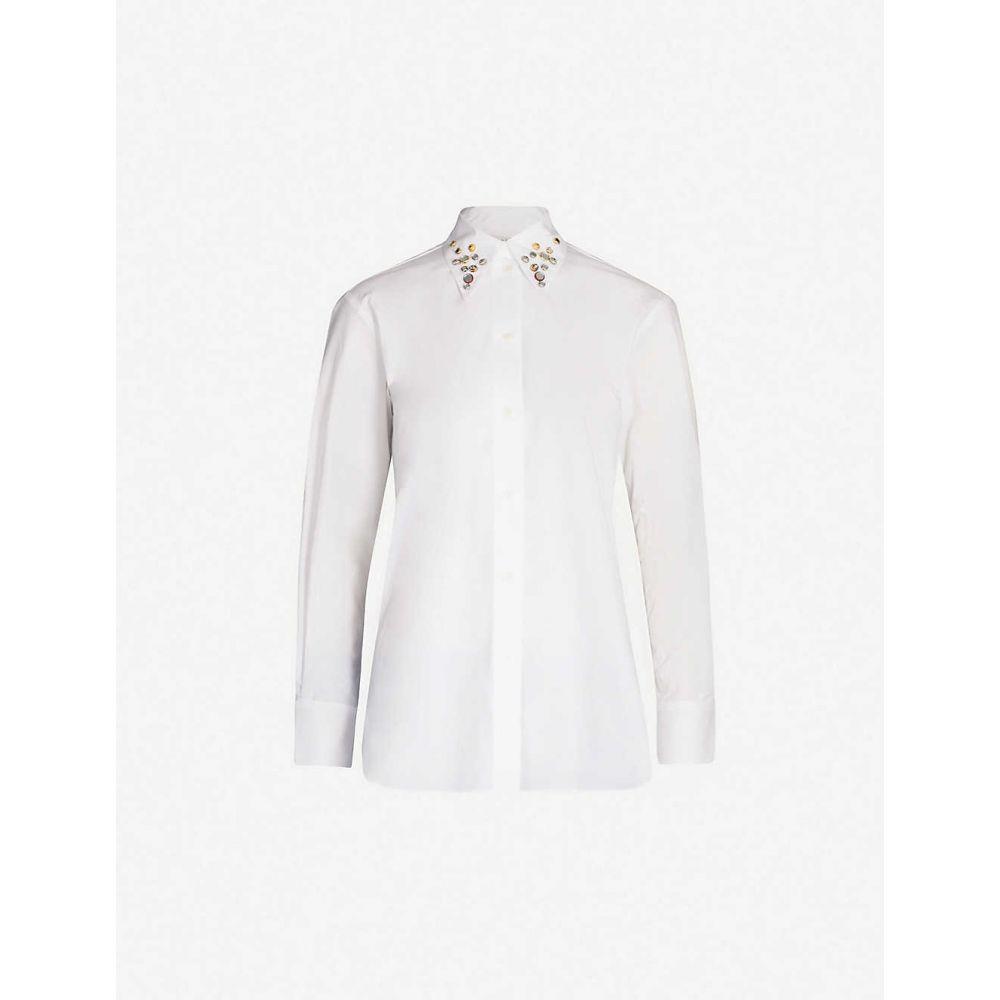 サンドロ SANDRO レディース トップス ブラウス・シャツ【Embellished-collar cotton shirt】White