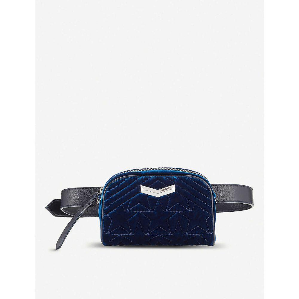 ジミー チュウ JIMMY CHOO レディース バッグ ボディバッグ・ウエストポーチ【Helia stud-embellished velvet belt bag】Navy