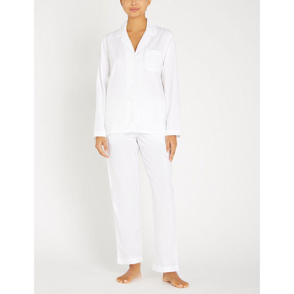 ザ ホワイト カンパニー THE WHITE COMPANY レディース インナー・下着 パジャマ・上下セット【Classic Cotton striped cotton-jersey pyjama set】White