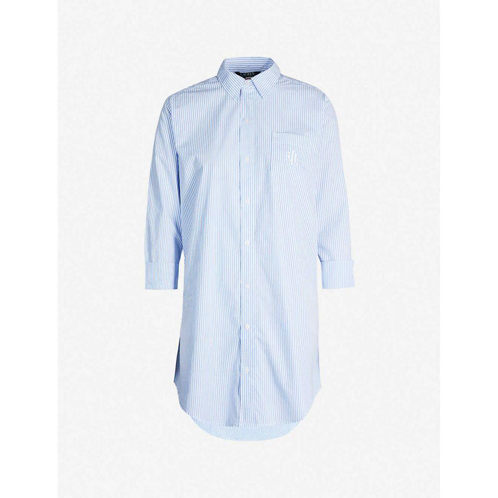 ラルフ ローレン RALPH LAUREN レディース インナー・下着 パジャマ・トップのみ【Logo-embroidered cotton sleepshirt】Carissa blue white