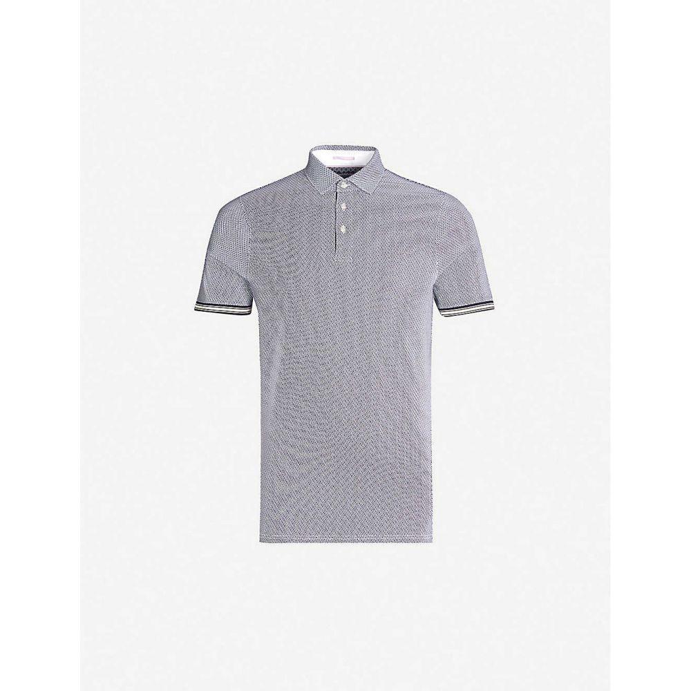 テッドベーカー TED BAKER メンズ トップス ポロシャツ【Contrast-trim geometric stretch-cotton polo shirt】Navy