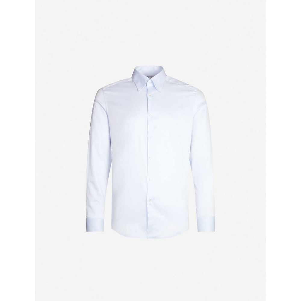 リース REISS メンズ トップス シャツ【Redsnap slim-fit button down cotton shirt】Soft blue