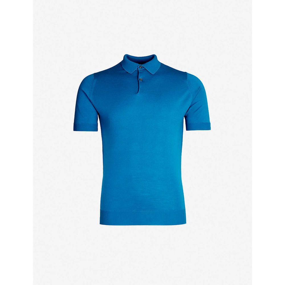 ジョンスメドレー JOHN SMEDLEY メンズ トップス ポロシャツ【Payton wool polo shirt】Blue peek