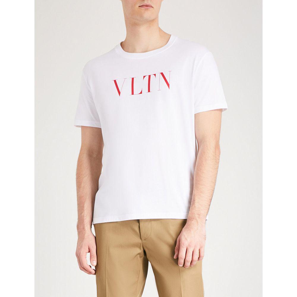 ヴァレンティノ VALENTINO メンズ トップス Tシャツ【Logo-print cotton-jersey T-shirt】White red