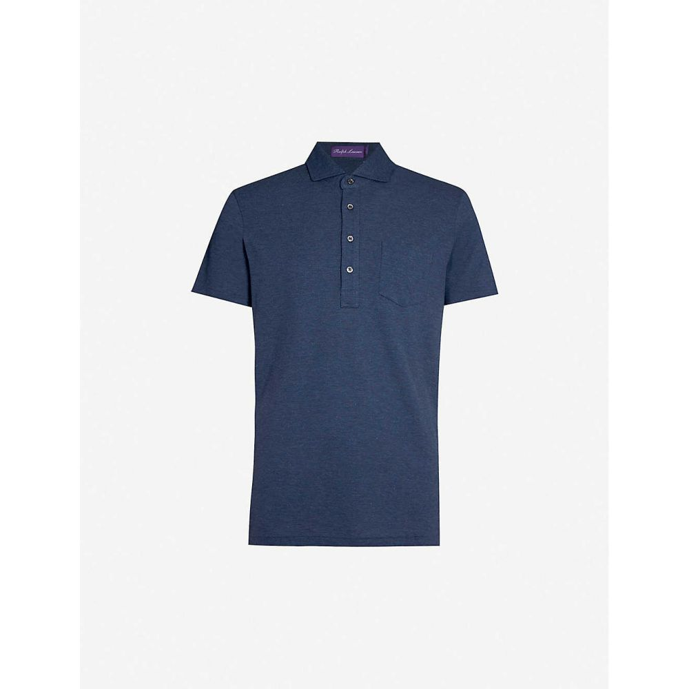 ラルフ ローレン RALPH LAUREN PURPLE LABEL メンズ トップス ポロシャツ【Patch-pocket cotton-pique polo shirt】Squadron blue melange