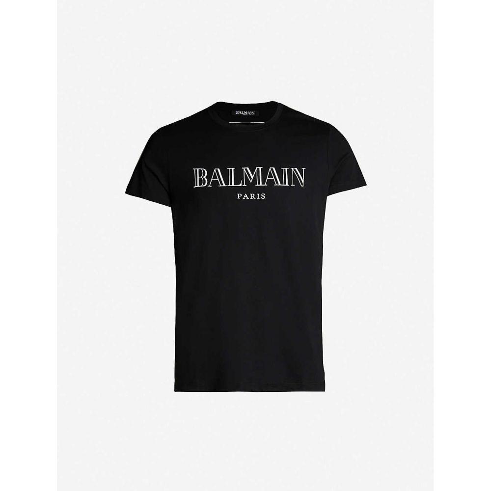 バルマン BALMAIN メンズ トップス Tシャツ【Logo-print cotton-jersey T-shirt】Black