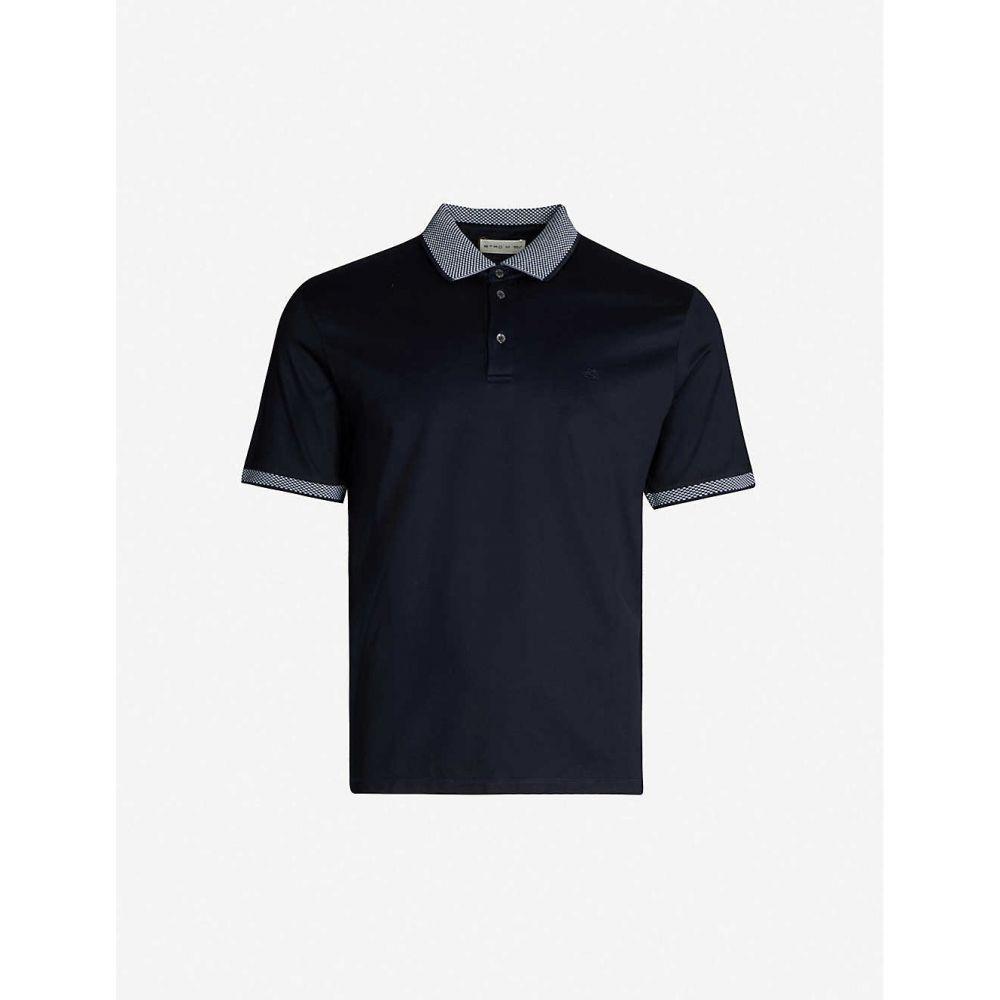 エトロ ETRO メンズ トップス ポロシャツ【Contrast-trim cotton polo shirt】Blue