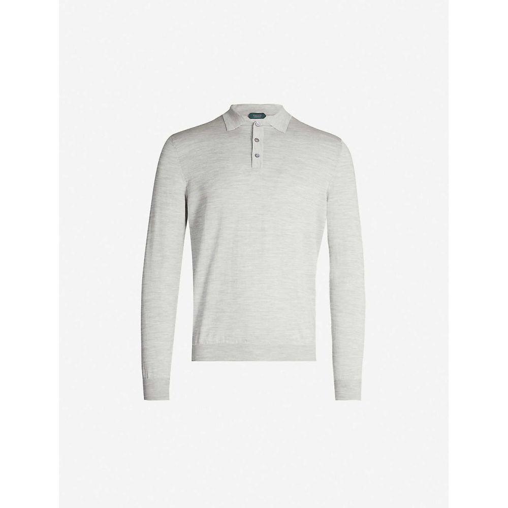 スローウエア SLOWEAR メンズ トップス ポロシャツ【Long-sleeved wool-blend polo shirt】Light grey