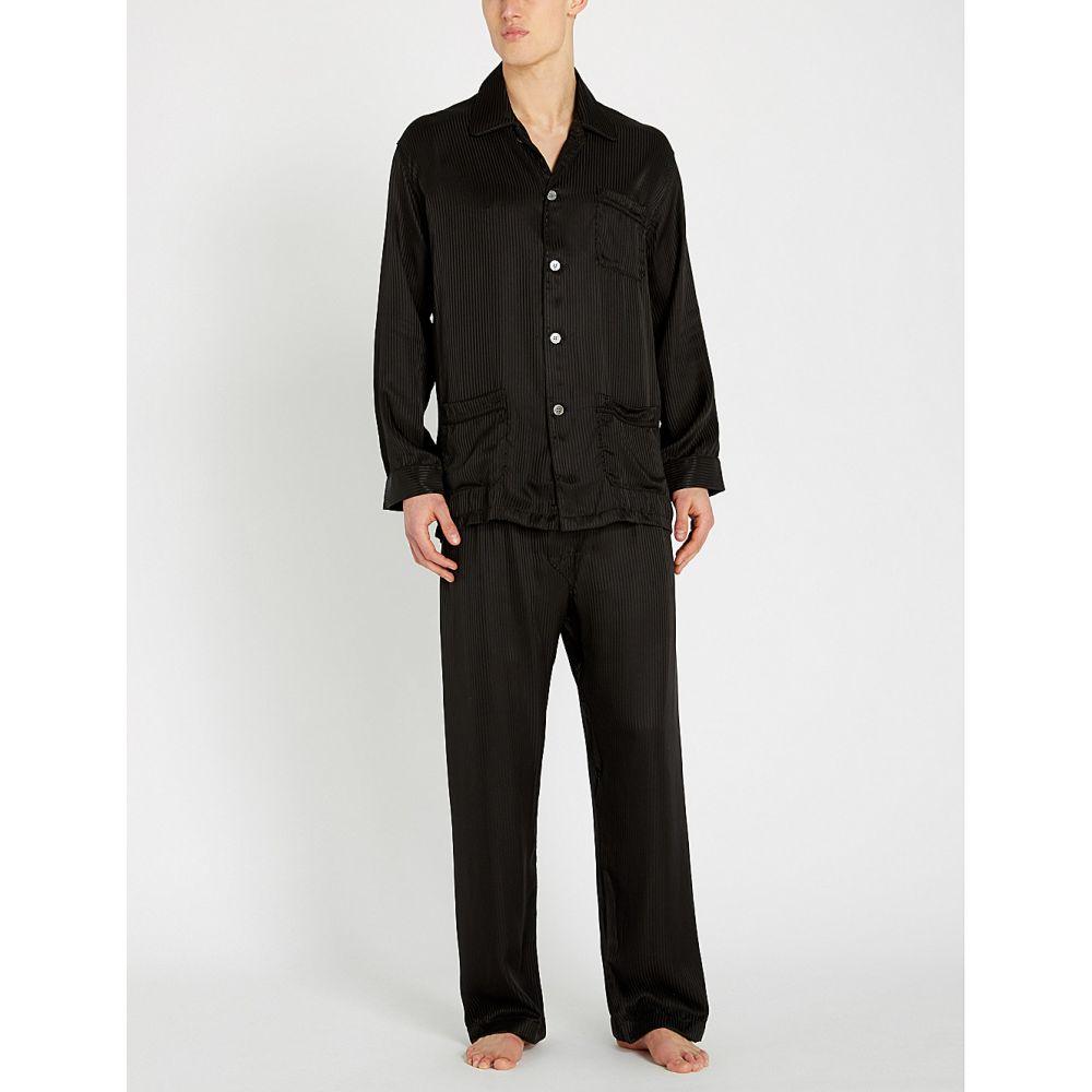 デリック ローズ DEREK ROSE メンズ インナー・下着 パジャマ・上下セット【Woburn silk-satin pyjama set】Black