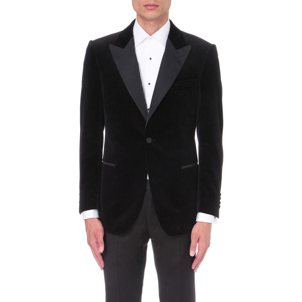 ギーブス アンド ホークス GIEVES & HAWKES メンズ アウター スーツ・ジャケット【Regular-fit velvet blazer】Black