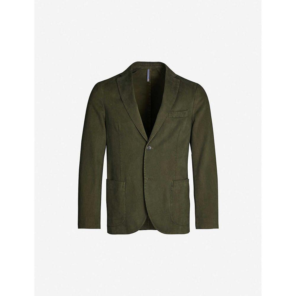 スローウエア SLOWEAR メンズ アウター スーツ・ジャケット【Cotton and cashmere-blend jacket】Verde marcio scuro