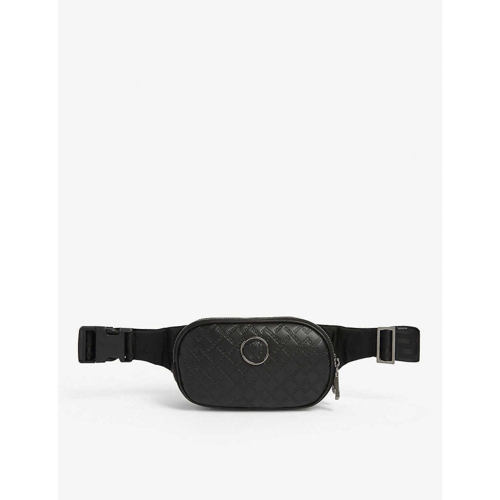 ヴェルサーチ VERSACE メンズ バッグ ボディバッグ・ウエストポーチ【Medusa logo leather and nylon bumbag】Black