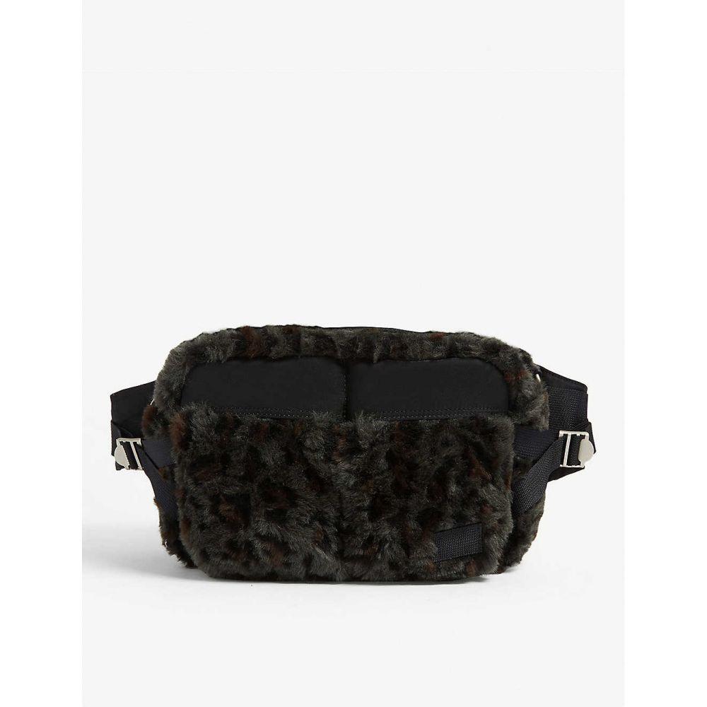 サカイ SACAI メンズ バッグ ボディバッグ・ウエストポーチ【Leopard print faux-fur belt bag】Khaki
