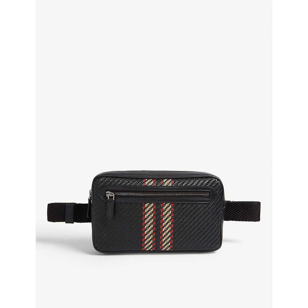 エルメネジルド ゼニア ERMENEGILDO ZEGNA メンズ バッグ ボディバッグ・ウエストポーチ【Pelletessuta' leather striped pouch bag】Black
