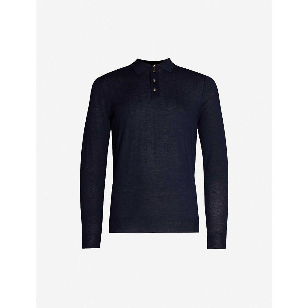 パル ジレリ PAL ZILERI メンズ トップス ポロシャツ【Relaxed-fit semi-sheer cashmere polo shirt】Blue