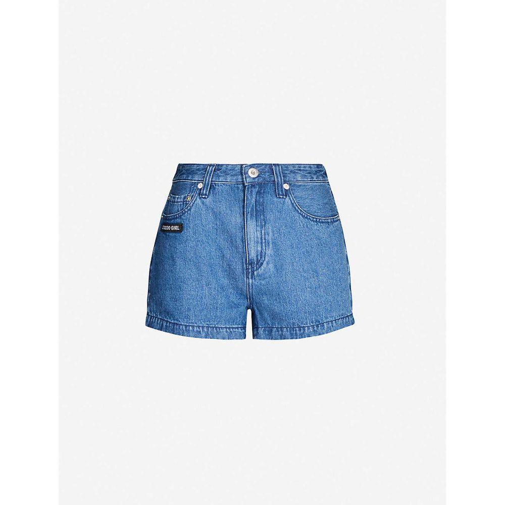 チョコレート CHOCOOLATE レディース ボトムス・パンツ ショートパンツ【Logo-patch high-rise denim shorts】Blue