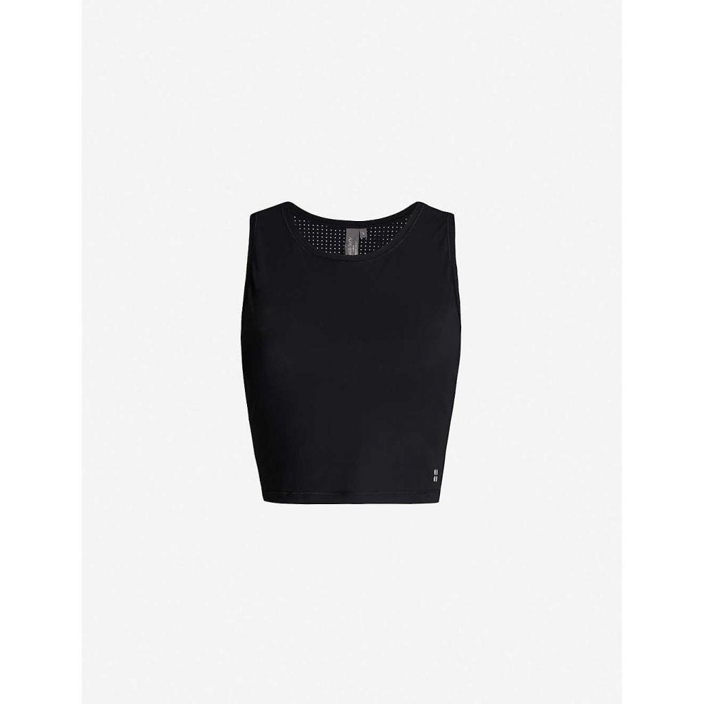 スウェッティベティ SWEATY BETTY レディース ランニング・ウォーキング トップス【Homestraight Run sleeveless cropped jersey top】Black