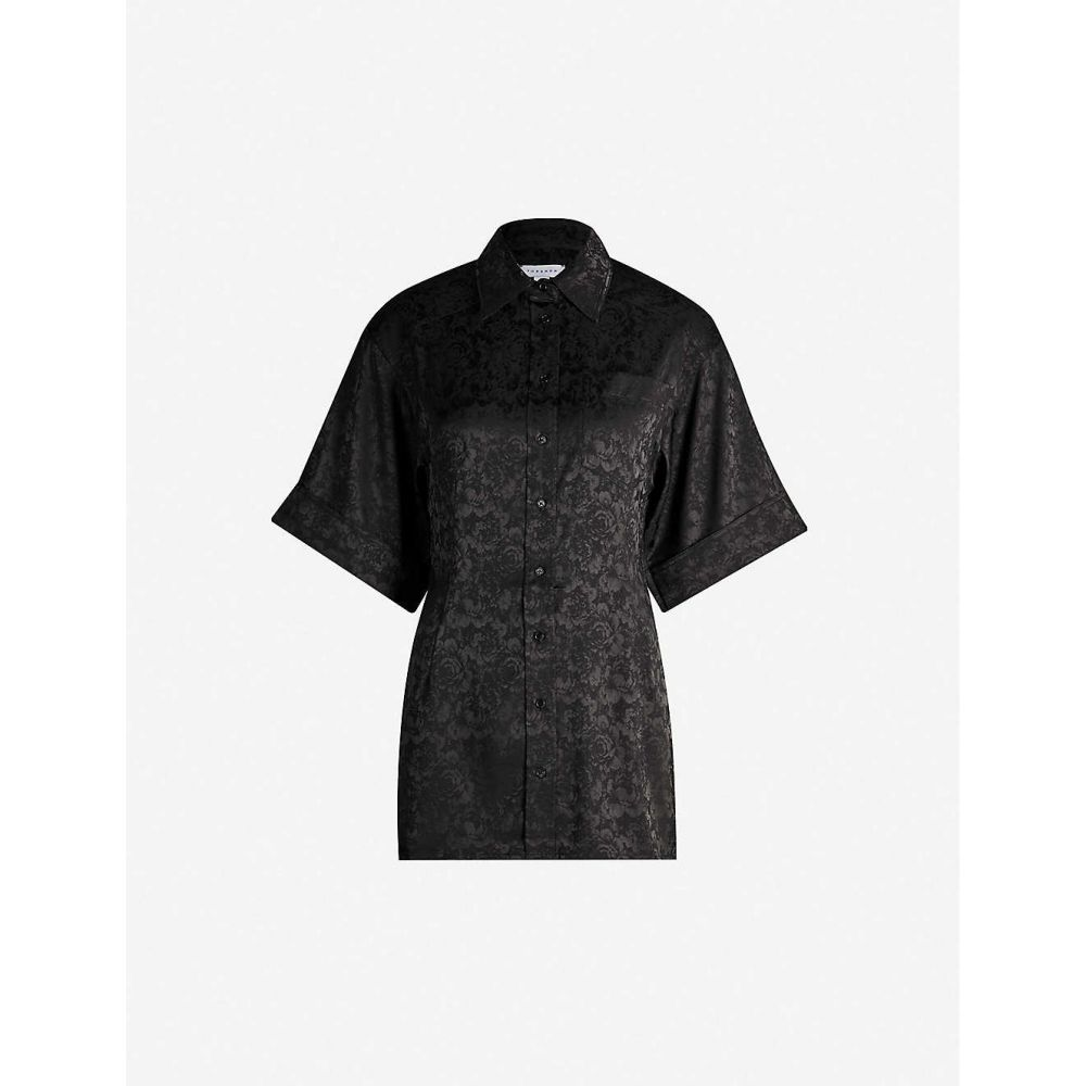 トップショップ TOPSHOP レディース トップス ブラウス・シャツ【Boutique floral-jacquard shirt】Black