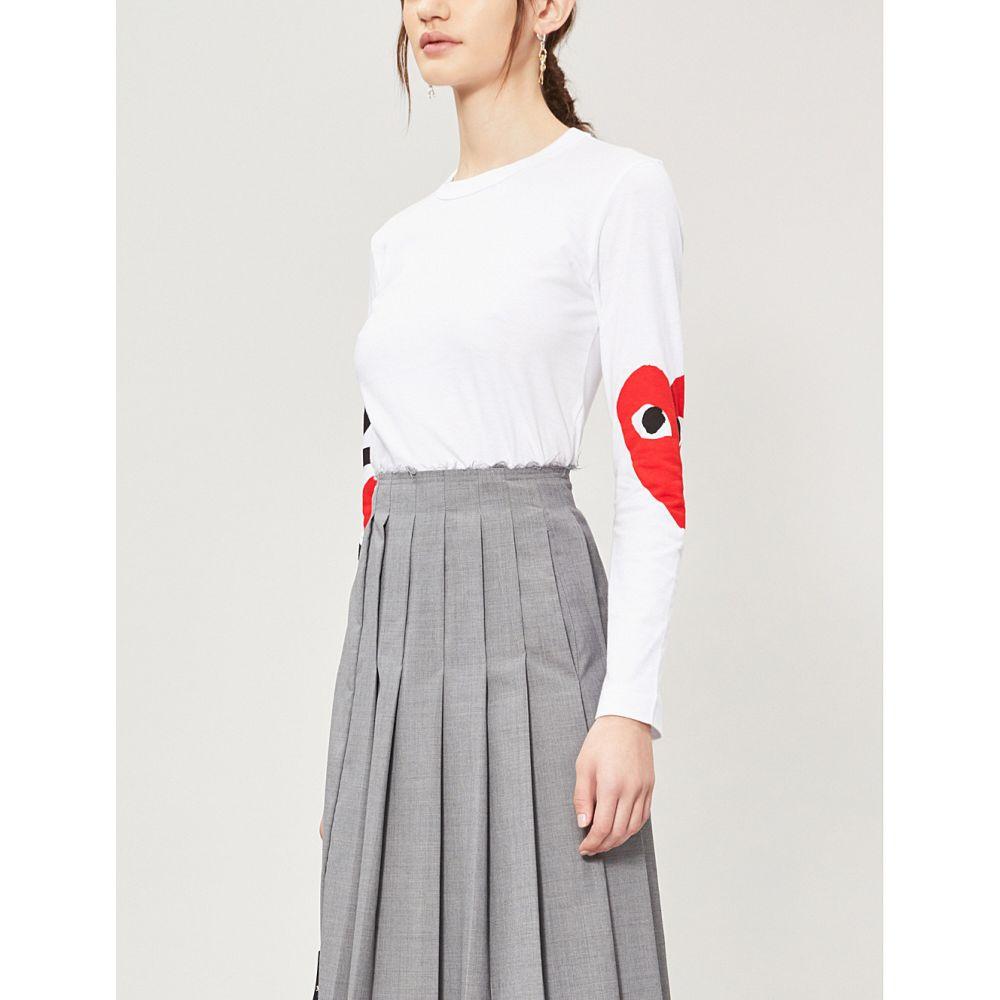 コム デ ギャルソン COMME DES GARCONS PLAY レディース トップス【Logo-print cotton-jersey top】White