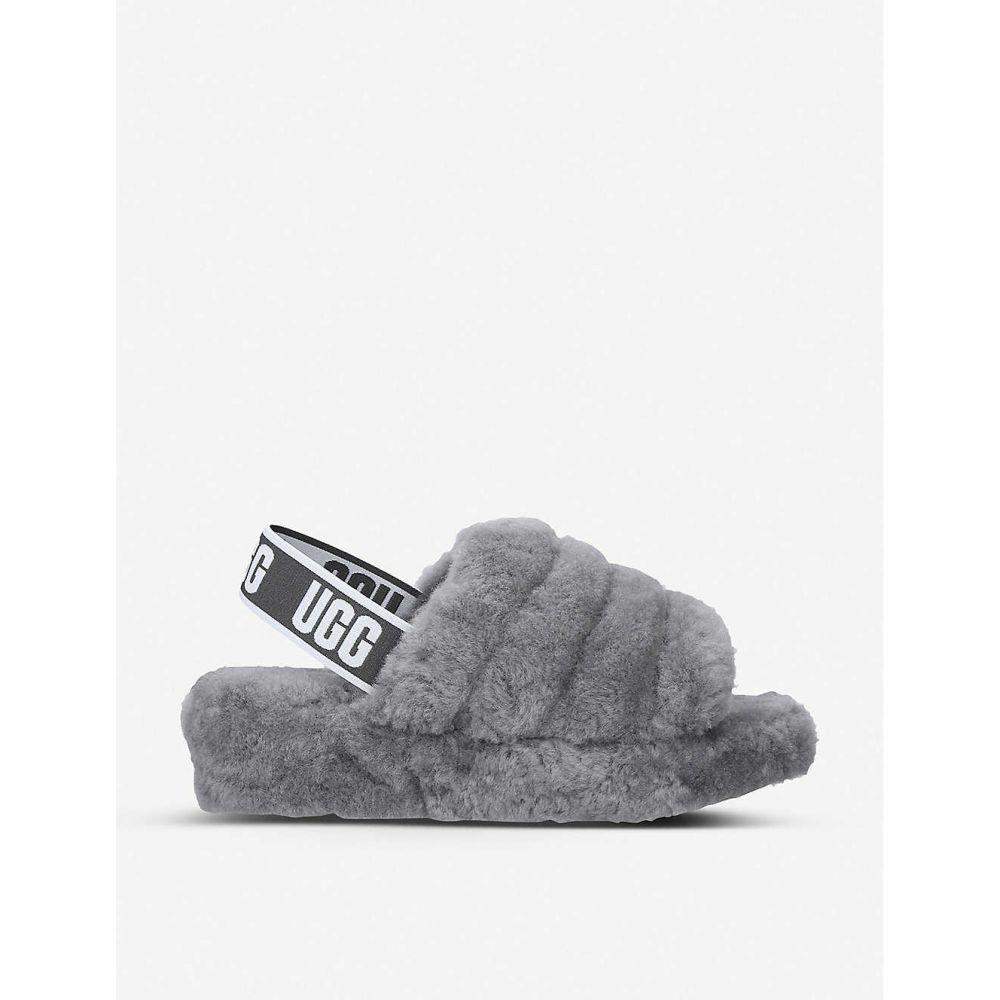 アグ UGG レディース シューズ・靴 ビーチサンダル【Fluff yeah sheepskin slides】Grey