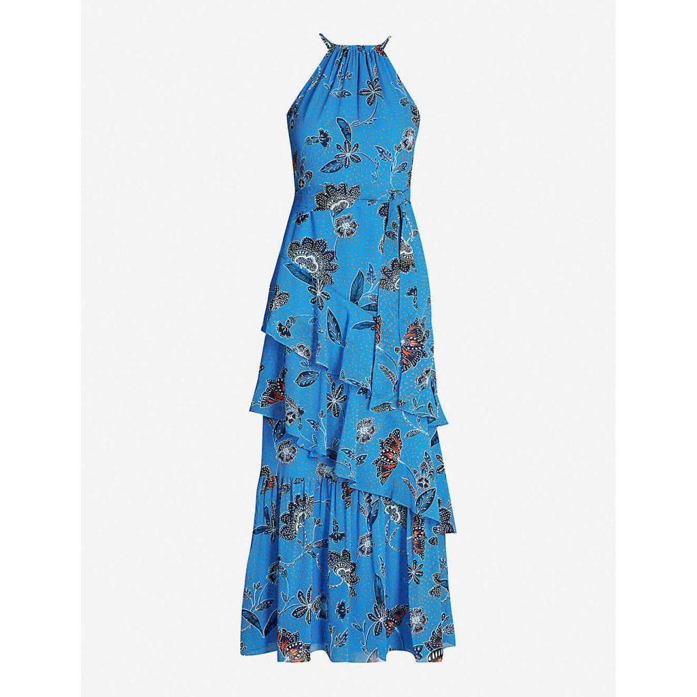 カレンミレン KAREN MILLEN レディース ワンピース・ドレス ワンピース【Floral-print ruffle-tiered crepe dress】Multi-coloured