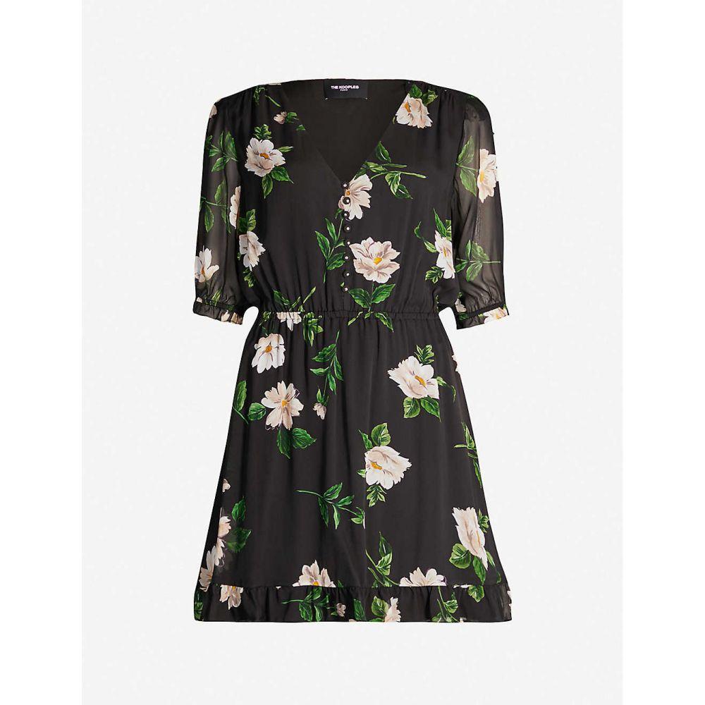 クーパース THE KOOPLES レディース ワンピース・ドレス ワンピース【Floral-print silk-chiffon dress】Black