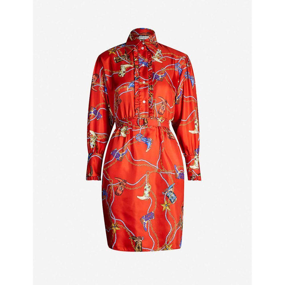 サンドロ SANDRO レディース ワンピース・ドレス ワンピース【Graphic-print silk-satin dress】Red