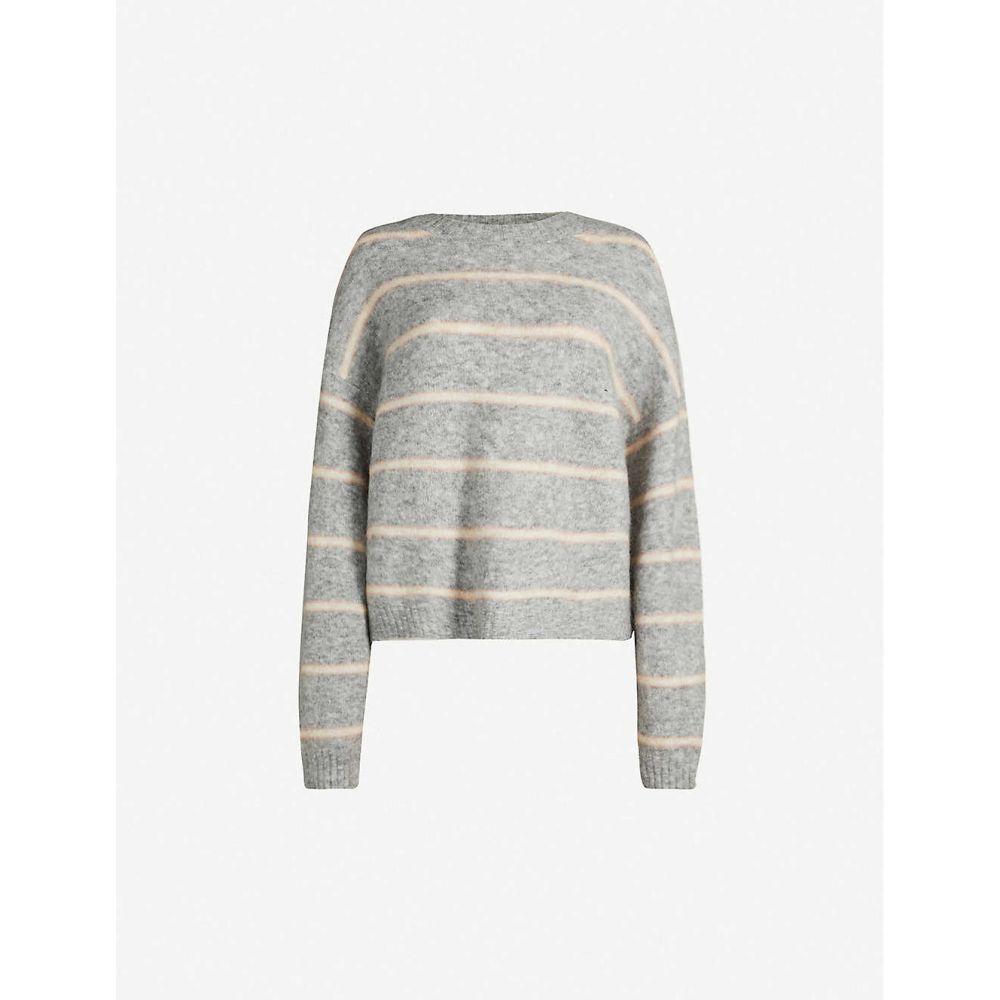 アクネ ストゥディオズ ACNE STUDIOS レディース トップス ニット・セーター【Khira striped wool and mohair-blend jumper】Grey/beige