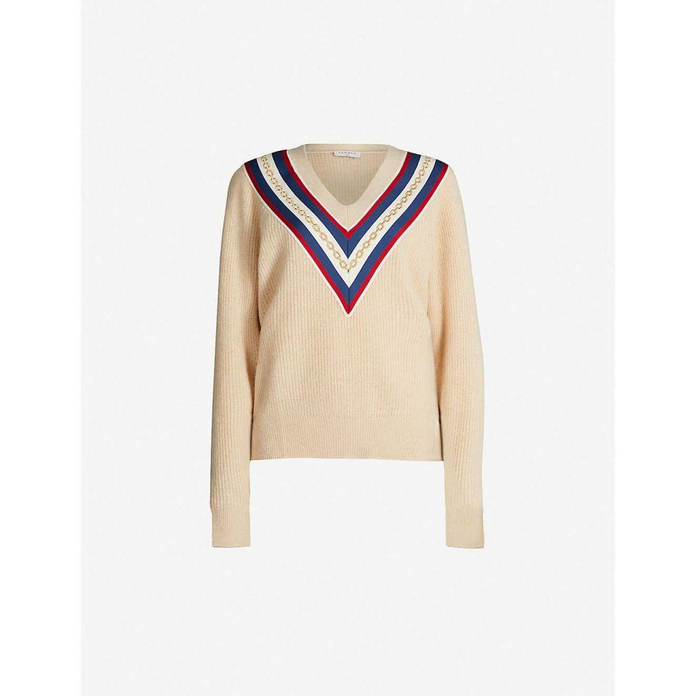 サンドロ SANDRO レディース トップス ニット・セーター【Chain-embroidered wool-blend jumper】Beige