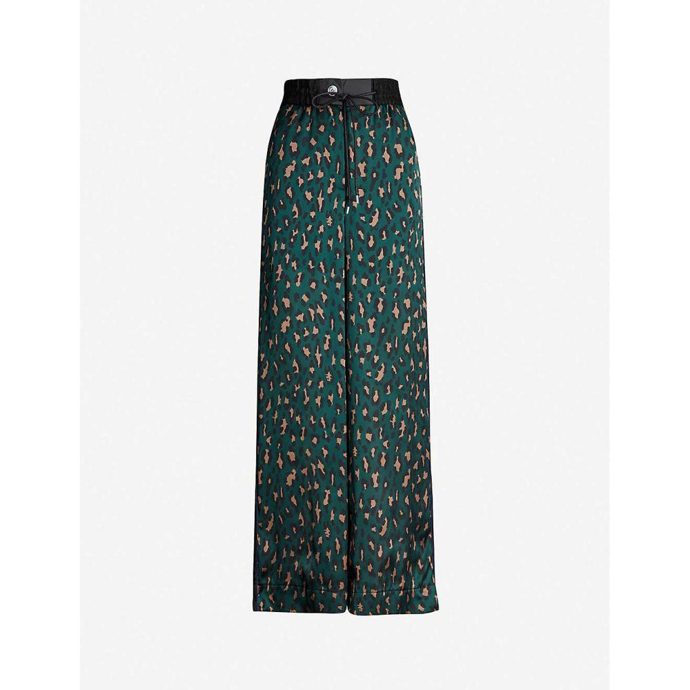 サカイ SACAI レディース ボトムス・パンツ【Leopard-print high-rise wide crepe trousers】Green