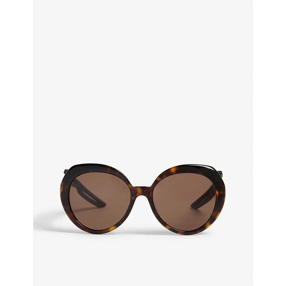 バレンシアガ BALENCIAGA レディース メガネ・サングラス【BB0024S round-frame sunglasses】Havana