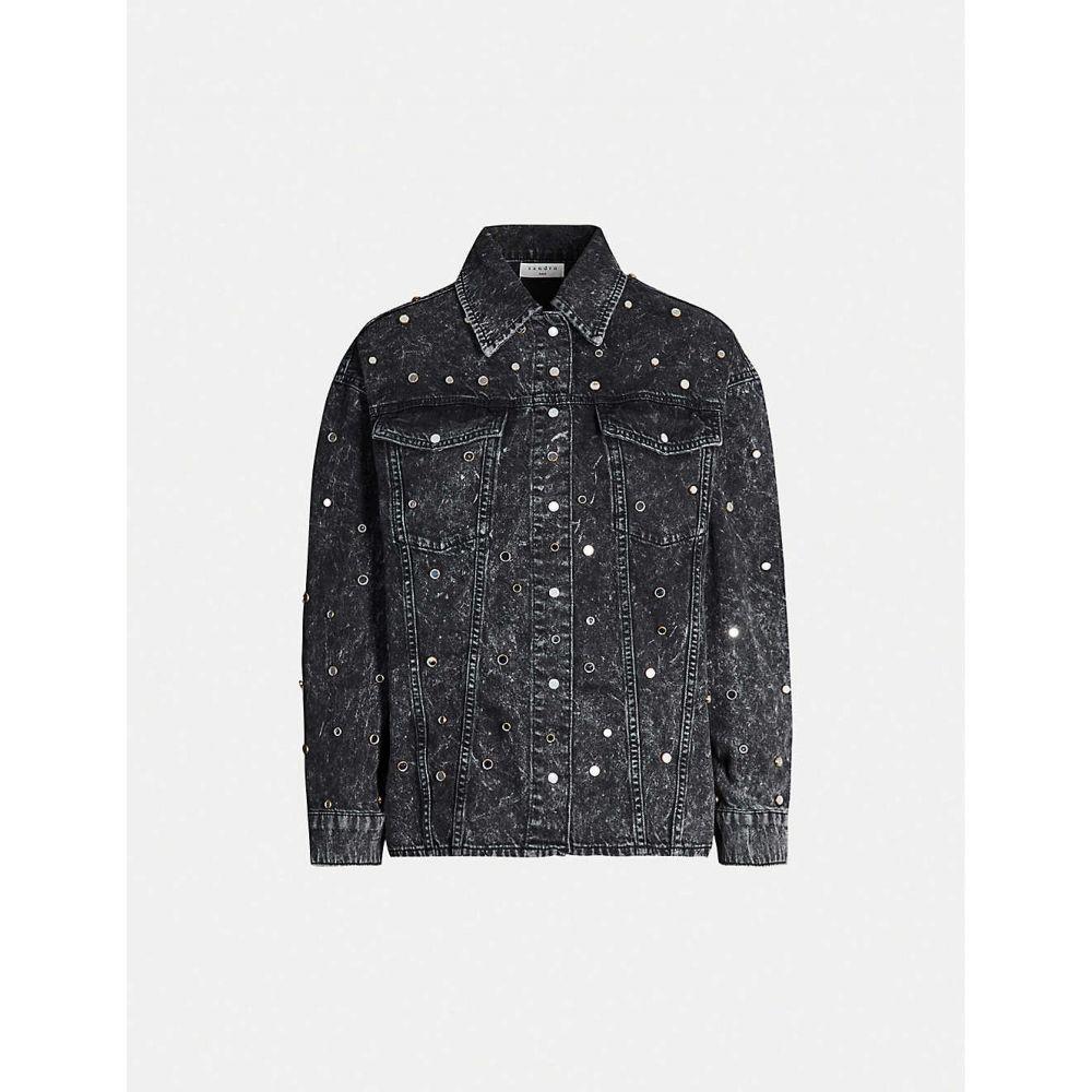 サンドロ SANDRO レディース トップス ブラウス・シャツ【Stud-embellished acid-wash denim shirt】Black